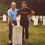 Jack Shults at the grave of his grandfather, Jack Shults 7th East Surreys. Quarry Cemetery, Loos. 1982