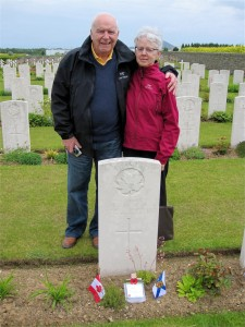 Stan Maclean at his Grandfather's grave. May 2012